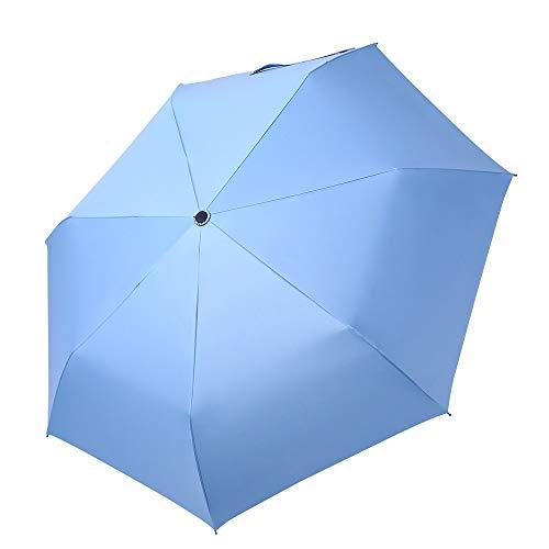 WUHUAROU Paraguas pequeño y refrescante de Tres Pliegues Paraguas de plástico Ultraligero para Mujer, Soleado o lluvioso (Color : Light Blue)
