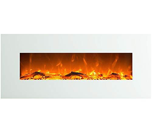 GLOW FIRE Venus Elektrokamin mit Heizung, Wandkamin mit LED | Künstliches Feuer mit zuschaltbarem Heizlüfter: 750/1500 W | Fernbedienung, 126 cm, Weiß