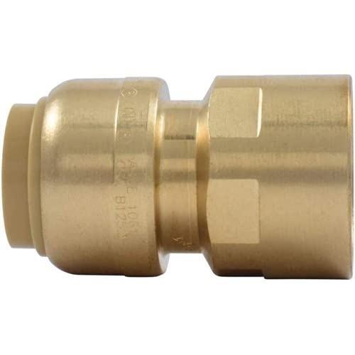 SharkBite U072LFA Straight Connector Plumbing Female, 1/2 in, FNPT, PEX Fittings, Push-to-Connect, Copper, CPVC, 0.5 x 0.5 Inch