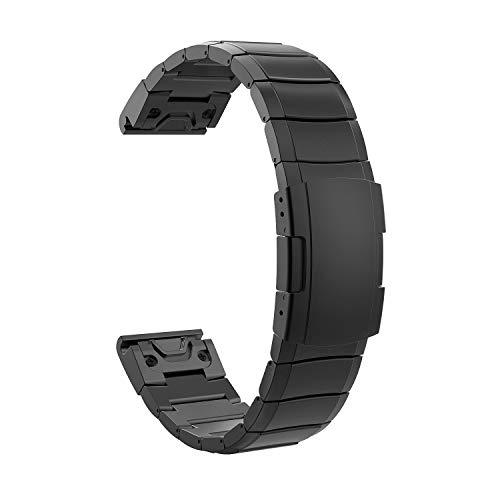TiMOVO Bracelet Compatible avec Garmin Instinct/Fenix 6/6 Pro/Fenix 5/5 Plus/Forerunner 935/945, Bande de Montre en Acier Inoxydable Bracelet de Remplacement pour Instinct/Fenix 6/6 Pro - Noir