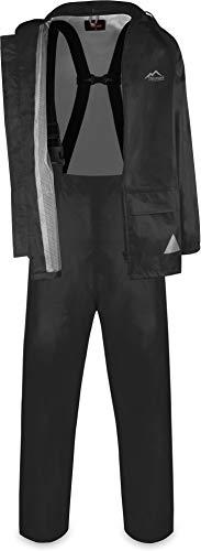normani Wasserdichter Regenanzug, Regenkombi aus Regenjacke und Regenhose mit Hosenträger - Unisex Farbe Schwarz Größe L