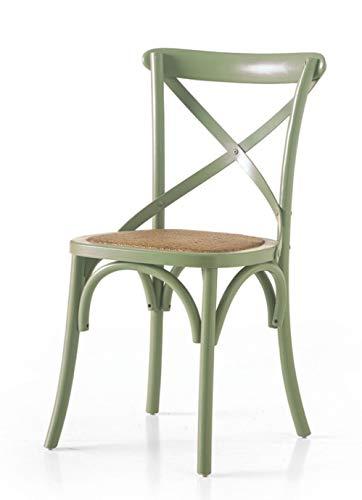 Chaise en bois couleur vert eau avec assise en rotin
