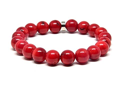 Coral rojo natural 10 mm Forma redonda Pulsera elástica de 7 pulgadas con cuentas lisas para hombres / mujeres con cuentas de metal plateadas.