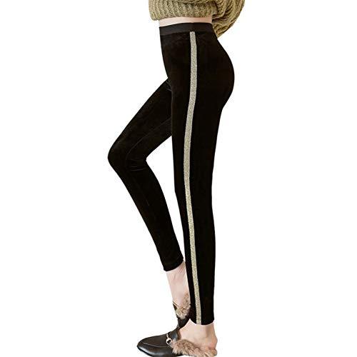 GDRFHJZ herfst winter nieuwe hoge taille fluweel stof leggings vrouwen zwart goud zijde gestreept stretch workout leggings potloodbroek