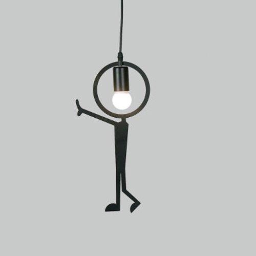 """Hines Moderne Kreative Stil Metall Mann\""""Look\"""" LED Hängenden Pendelleuchte Pendelleuchte Kronleuchter Eisen Celling Lampe Chandelie Leuchte verwenden 1 E27 Birne Schwarz (Size : H)"""