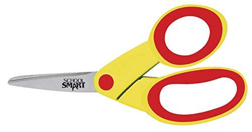 School Smart Blunt Tip Kid's Scissor with Rack, 5 Inch, Assorted Colors, Pack of 12