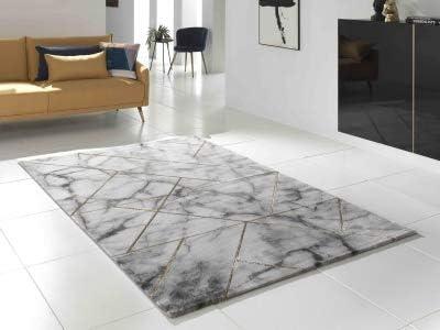 marble tapis de salon style marbre et joints blanc gris laiton 80 x 150 cm