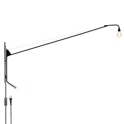E27 Lámpara de pared industrial retro con brazo largo, brazo oscilante, luces de pared giratorias ajustables, pasillo, escalera, pasillo, restaurante, bar, dormitorio, sala de estar, hierro, lámpara d