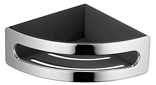 KEUCO Eck-Duschkorb aus Metall hochglanz-verchromt und Kunststoff schwarz, herausnehmbar, bruchfest, 18x18x7cm, Wandmontage in der Dusche, Elegance