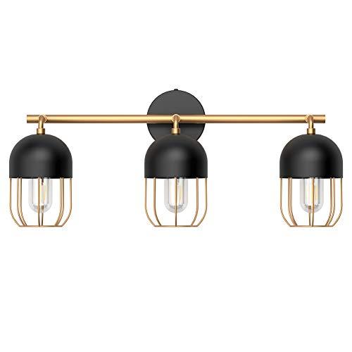 Klighten Luz Espejo Baño Retro 60CM, lámpara de baño para jaula interior, E27 3-Luz Vintage Industrial Lámpara de Pared para Baño(bombilla no incluida)