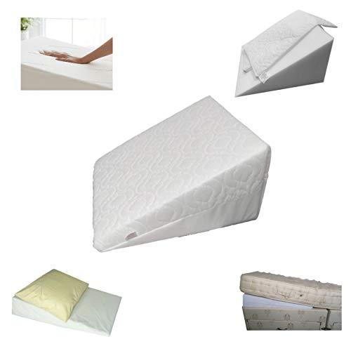 Almohada de espuma 100% pura, hipoalergénica, multiusos, ortopédica, para reflujo ácido, soporte hospitalario en ángulo, extraíble y lavable, funda acolchada fabricada en el Reino Unido (individual)
