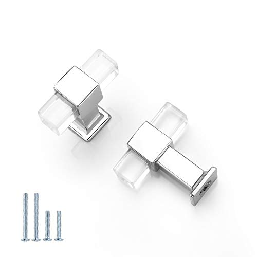 NIZADO 10 Pack |Square Kitchen Drawer Knob Clear Acrylic Cabinet Knob Polished Chrome,Modern Lucite Cabinet Handle Drawer Pull Crystal Style