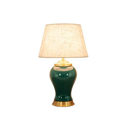 ZEZHOU Lampada da tavolo in ceramica, lampada da comodino camera da letto in stile americano soggiorno divano lampada da tavolo caffè lampada da tavolo decorativa retrò nuova cinese (verde/giallo)