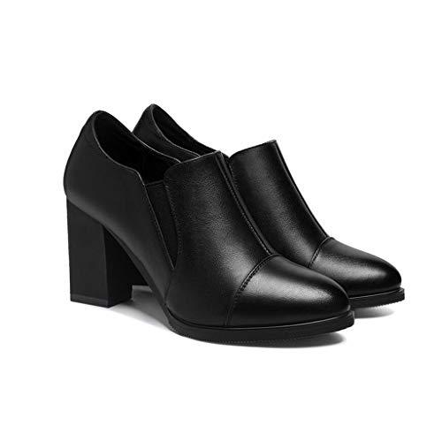 YIWU Ms Kleine Lederschuhe 2019 Herbst Und Winter Weibliche Schuhe Mittlere Ferse Einzelne Schuhe Dicke Ferse Karriere Jobs High Heels Schwarz (Farbe : Schwarz, Size : EU37/UK4.5-5/CN37)