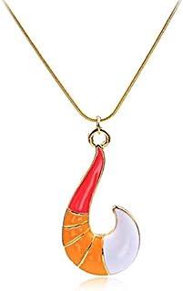 قلادة مع سلسلة معدنية لأنيمي الخنفساء المعجزة لسيدة أنيقة، هدية الرجال وهي قلادة العقد علي شكل خطاف السمك الذكي من الذهب