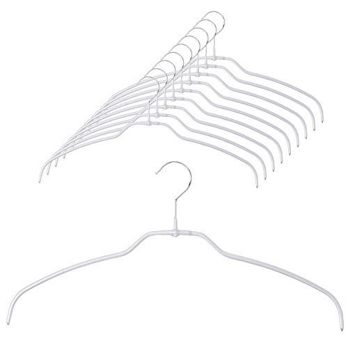 MAWA(マワ) ハンガー ミヤビ シルエットライト42[10本セット]、スリム、超薄型、50%省スペース、滑り止めコーティング、Tシャツ・シルクシャツ、繊細な衣類に最適、360°回転フック クロームメッキ、耐久性のあるメタルハンガー、41.0 x 21.0 x 0.5 CM、キラキラ、グリッターシルバー、MA1412030-10