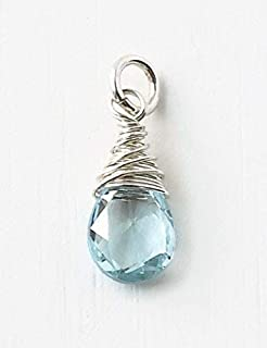 December Birthstone Charm for Necklace or Bracelet - Small Genuine Sky Blue Topaz Briolette Pendant Wire Wrapped in Sterling Silver