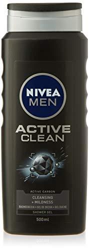NIVEA MEN Gel de Ducha Active Clean - Paquete de 12 x 500 ml