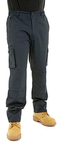 BKS Mens Combat Cargo Work Trousers Size 30 to 52 with Knee PAD Pockets (36 Long, Navy)