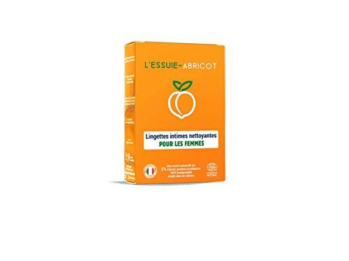 L'Essuie-Fraise - Albaricoque — Toallitas íntimas para mujer biodegradables sin fragancia (estuche de 7 bolsas individuales) //Higiene Femenina — Fórmula orgánica natural certificada