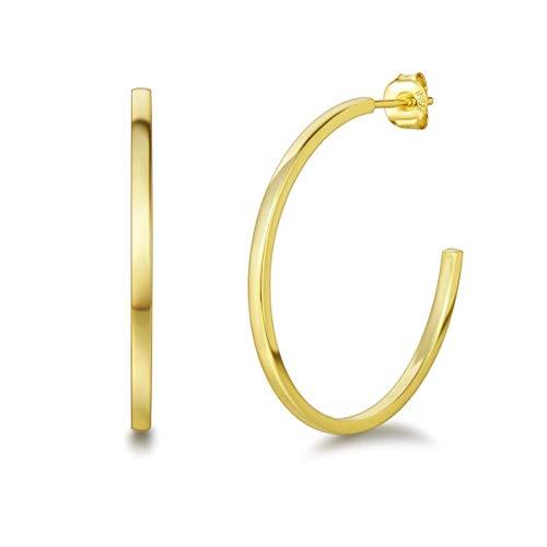 Große Creolen Rund Offene Halbe Ohrringe 2mm-Breit aus Solide 925 Sterling Silber mit Gelbgold Vergoldung Stylische Iconic Schmuck für Damen Mädchen - Durchmesser 36 mm
