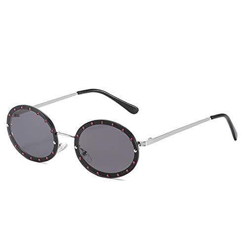 DLSM Gafas de Sol Gafas de Sol Redondas de Metal Mujeres Vintage Rimless Sun Gafas para Mujer Gafas de Diamante Adecuado para al Aire Libre Senderismo Conducción Gafas de Sol-C7