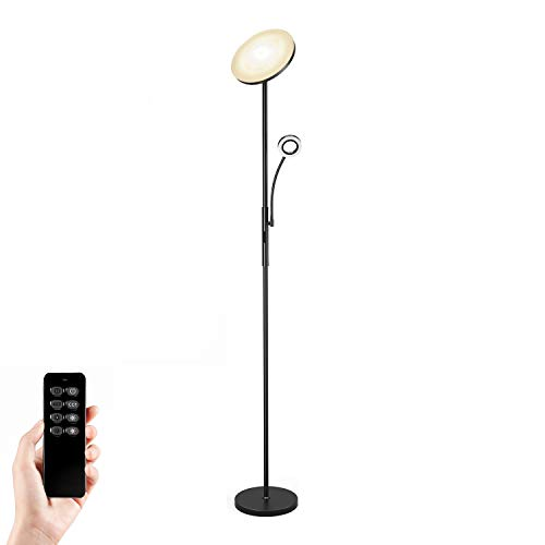 Anten 30W dimmbare LED Stehlampe mit flexibler Leselampe und Fernbedienung, moderner LED Deckenfluter für Wohnzimmer und Büro.