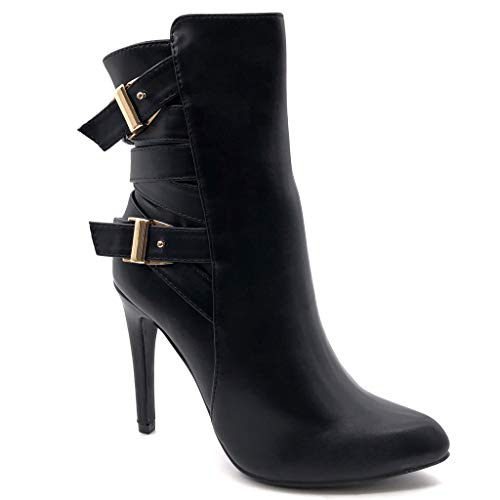 Angkorly - Damen Schuhe Stiefeletten - Reitstiefel Kavalier - Biker - Stiletto - Schleife - Multi-Zaum - golden Stiletto high Heel 11 cm - Schwarz 1010 T 41