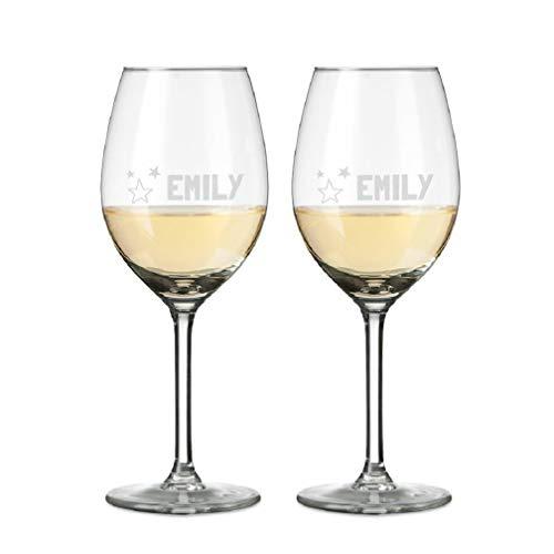 YourSurprise Verre à Vin Blanc Personnalisable avec Nom - Verre à Vin Gravé avec Nom: Personnalisable avec du Texte, Différents Designs et Polices D'écritures (2)