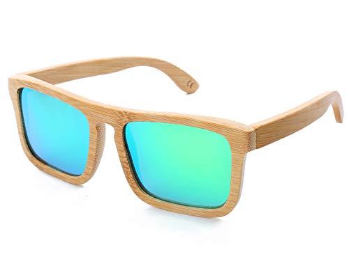 Mini Tree Holz Sonnenbrille Herren Retro Bambus Sonnenbrille Polarisiert Damen Sonnebrille Holz Verspiegelt 100% UV400 Schutz Outdoor Brille mit Etui Gross (Grün)