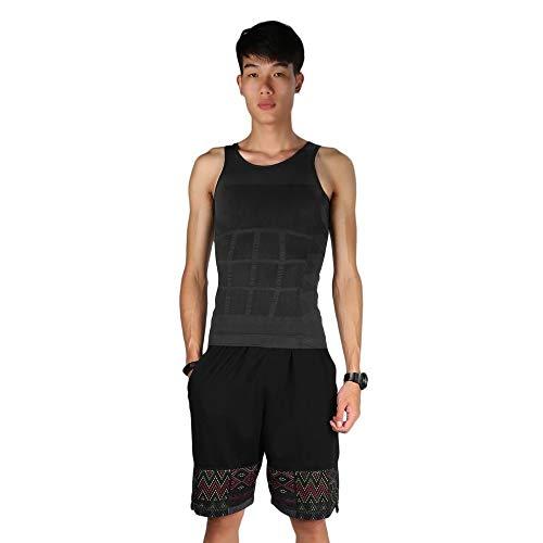 QiKun-Home Hombres Sólido Delgado Body Shaper Vientre Grasa Ropa Interior Chaleco Camisa Corset Compresión Tops Elástico y Liso Gris Medio