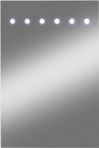 Kristall-Form 48000030 - Specchio illuminato Sunlight con 12 LED e 6 fori, già montato, classe di protezione 2, IP 20, certificato TÜV GS, con gancio incluso, 40 x 60 cm