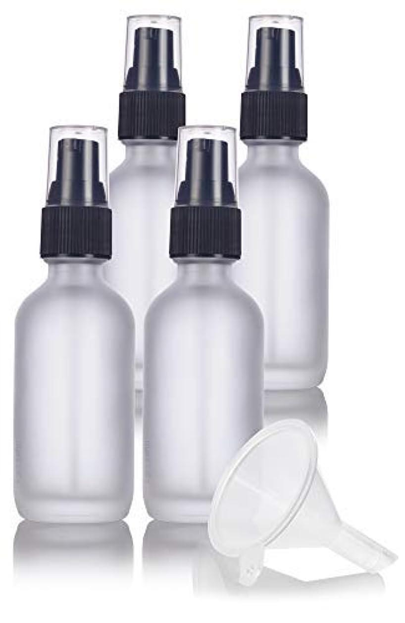 適合相続人滴下2 oz Frosted Clear Glass Boston Round Treatment Pump Bottle (4 pack) + Funnel and Labels for cosmetics, serums, essential oils, aromatherapy, food grade, bpa free [並行輸入品]