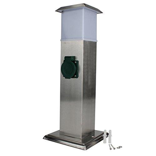 UNITEC Steckdosenverteiler für den Außenbereich |2 Steckdosen |IP 44|zusätzliche Beleuchtung | Edelstahlsäule