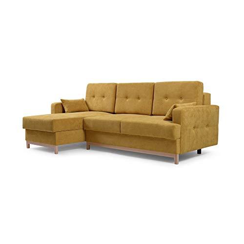 MOEBLO Ecksofa mit Schlaffunktion Eckcouch mit 2 X Bettkasten Sofa Couch L-Form Polsterecke Sophie (Gelb, Ecksofa Links)