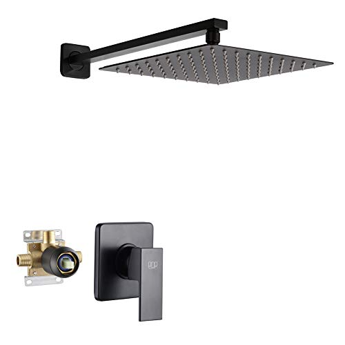 POP Matte Black Shower Faucet Set with 10 Inch Shower Head and Handle Set, Bathroom Rain Shower System, Wall Mounted Single Function Mixer Shower Trim Kit with Rough-in Valve