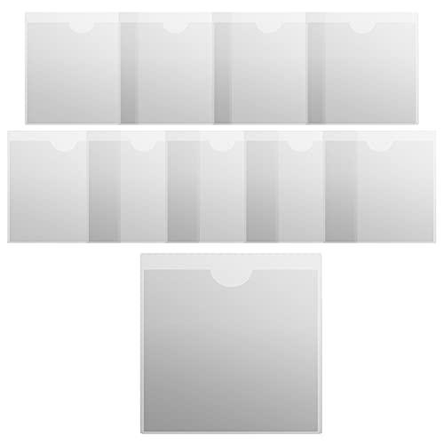 10 fundas autoadhesivas para tarjetas de visita con tapa abierta, autoadhesivas, de plástico transparente, para proteger tus tarjetas o fotos, 10,5 x 10,5 cm
