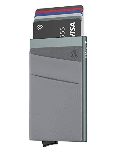VULKIT Card Holder with Money Pocket Pop Up Wallet RFID Blocking Slim Metal Bank Card Case Holds 5 Cards & Notes for Men or Women (Space Grey)