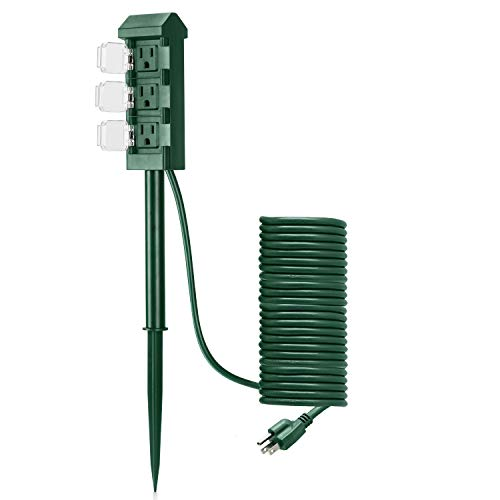 BESTTEN Outdoor Power Strip with 20-Foot Ultra Long Extension Cord, 3-Outlet Weatherproof Yard Power Stake with Protective Covers, ETL Certified, Green