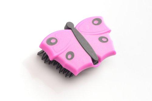 V7 Hand-Bürste, Fusselbürste, Kleider-Bürste, Polster-Bürste, mit V-förmigen Borsten, zum Entfernen von Tier, im Schmetterlings-Look, pink