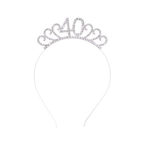 Lurrose 40. Geburtstag Krone Kristall Strass Krone Tiara Haarreif Prinzessin Haarschmuck Damen Frauen 40. Geburtstag Party Stirnband Kostüm Zubehör