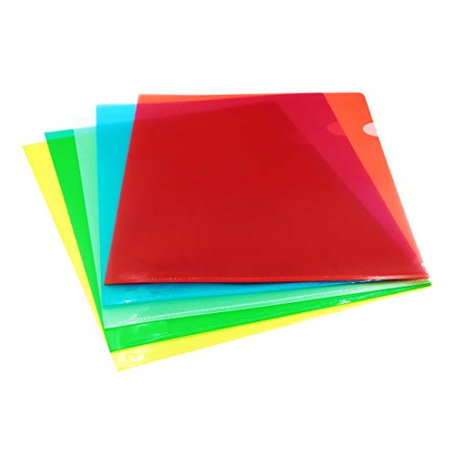 TOTiyea 30 Pack Plastic Clear Document Folders Project Pockets,File Folders for Letter Size (8.5x11 inches) and A4,3 Assorted Colors,for School Projects and Office Documents