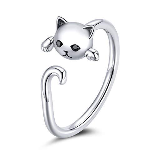 GDDX Anillo de pulgar de gato de plata esterlina Anillos de dedo ajustables de...