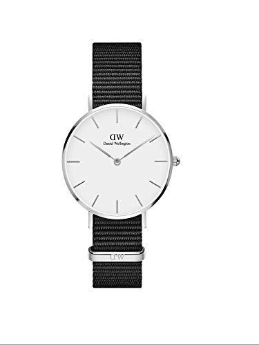 Daniel Wellington Petite Cornwall, Reloj Negro/Plateado, 32mm, NATO, para Mujer