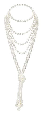 Art Deco Jewelry 1920s Pearl Necklace Long Necklace for Women Gatsby Flapper Accessories Vintage Party (A-Knot Pearl Necklace2 + 59' Necklace1)