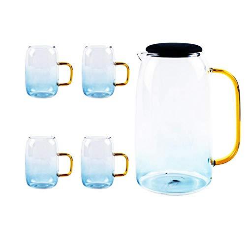 Mug Taza Gift Café 1500Ml Azul Tetera De Vidrio De Borosilicato Resistente Al Calor Hecha A Mano Café Agua Fría Y Caliente Tetera De Oficina Tetera Jarra Taza Juego De Tazas, 4 Tazas Y 1 Tetera