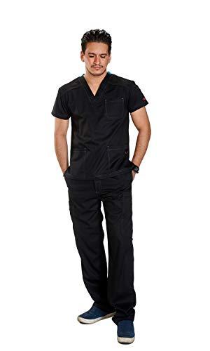 Reina 1020 Classy 3 Pocket top Men Scrub Set incl. Elastic Drawstring Pants w/Zipper Fly (Black, M Petite)