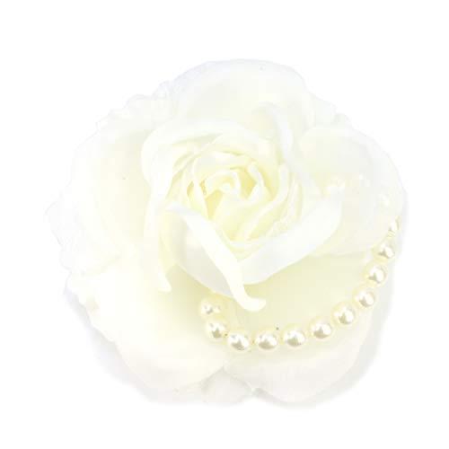 (クレインズコレクション) 手作り ローズ パール コサージュ ブローチ ピン フォーマル シーンや エレガント な装いに (ホワイト)
