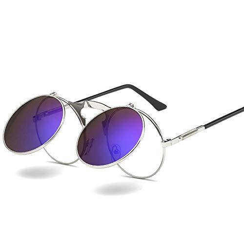 CCTYJ Sonnenbrillen Retro Steampunk Runde Sonnenbrille für Männer Schwarz Gold Metallrahmen Klapp Sonnenbrille für Frauen Zubehör UV400-Silber mit blau