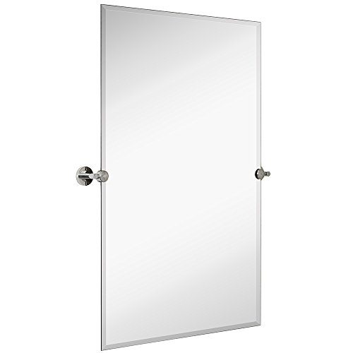 Hamilton Hills Large Pivot Rectangle Mirror with Polished Chrome Wall Anchors | Silver Backed...
